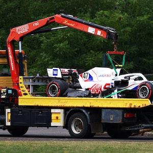 Der Haas von Mick Schumacher nach dem Crash in Ungarn.