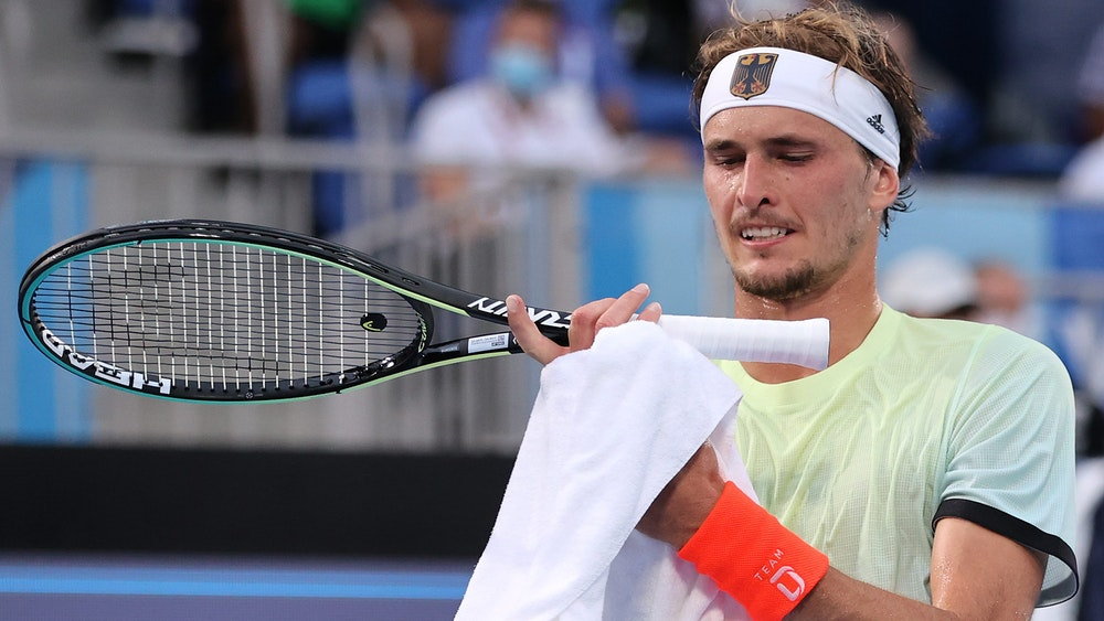 Alexander Zverev im Spiel gegen Novak Djokovic im Halbfinale der Olympischen Spiel im Tennis der Herren.