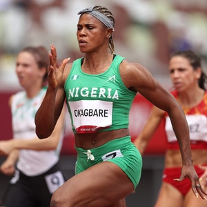 Blessing Okagbare (Nigeria) competes during round one of the Women's 100m heats on day seven of the Tokyo 2020 Olympic Games at Olympic Stadium on July 30, 2021 in Tokyo, Japan. (Photo by Patrick Smith/Getty Images)
