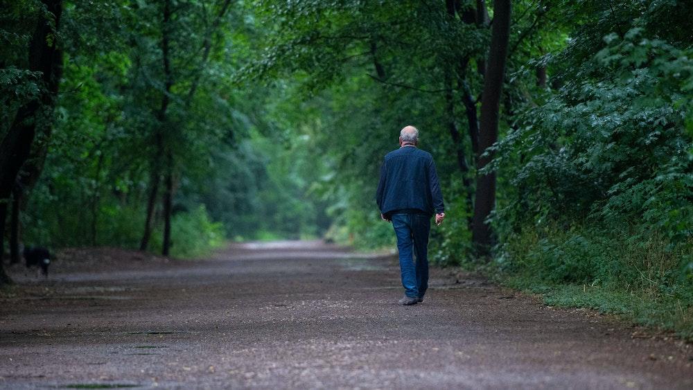 Ein Mann beim Spaziergang durch ein Kölner Waldgebiet.