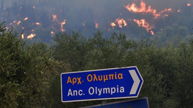 Waldbrand in Griechenland: Vorsichtige Entwarnung für die antike Stätte Olympia am 5. August 2021.