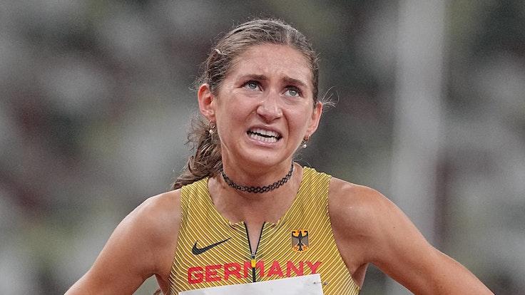Gesa Felicitas Krause nach dem Finale über 3000 Meter Hindernis bei den Olympischen Spielen
