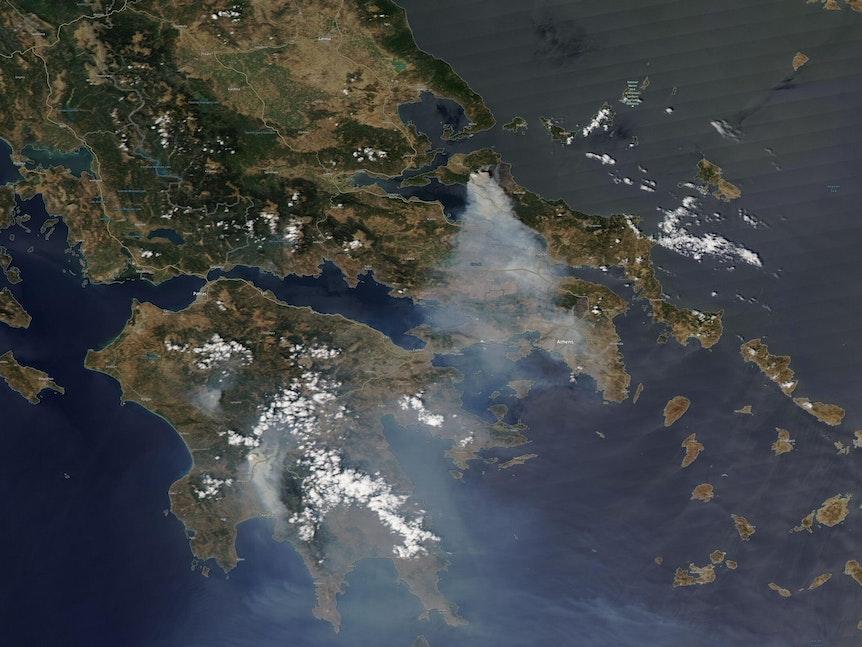 Das Satellitenbild vom 8. August zeigt Waldbrände nördlich von Athen auf der griechischen Insel Euböa. Die Lage dort wird immer bedrohlicher: Auf der Insel stehen auch am siebten Tag gewaltige Waldflächen in Flammen, die Brände breiten sich unkontrolliert aus.