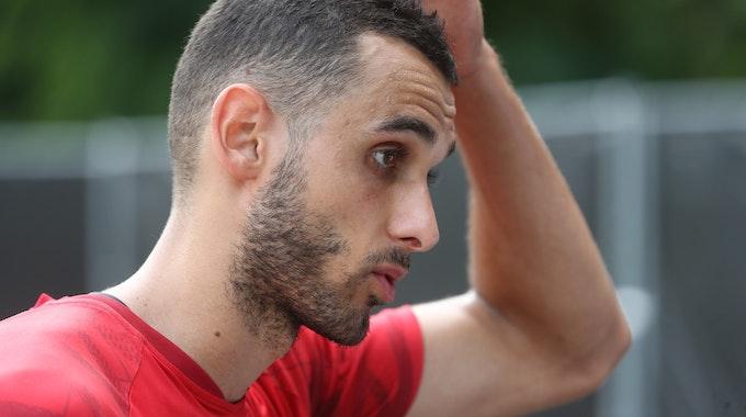Ellyes Skhiri (1. FC Köln) im Pressegespräch, 11.08.2021.