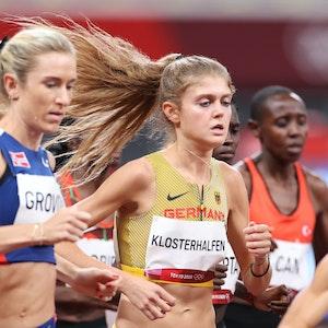Olympia 2021, 10.000 m, Frauen: Konstanze Klosterhalfen aus Deutschland in Aktion.