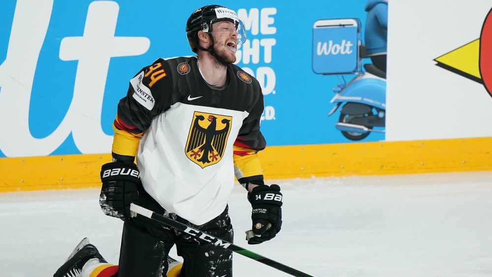 Tom Kühnhackl bei der Eishockey-WM-Partie USA gegen Deutschland.