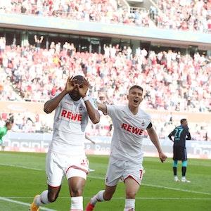 Anthony Modeste (1. FC Köln) jubelt nach dem Tor zum 1:1 Ausgleich.