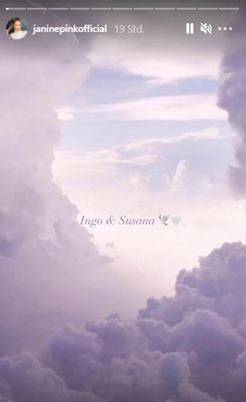 Pada gambar gambar adalah nama Ingo & Suzana.  Janine Pink memposting foto itu di Insta Story-nya dari 16 Agustus 2021 untuk mengenang Ingo dan Suzana Kantorek.