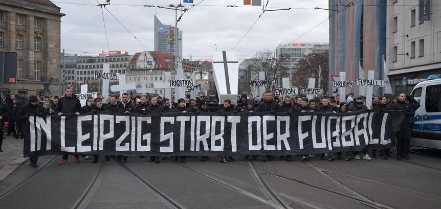 Protest der Union-Fans gegen RB Leipzig im Januar 2020.