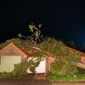 Ein umgewehter Baum hängt noch halb auf dem Dach eines Hauses.