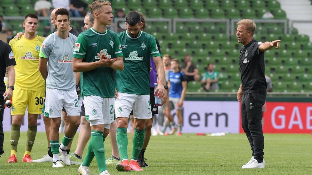 Markus Anfang beim Spiel Werder Bremen gegen SC Paderborn