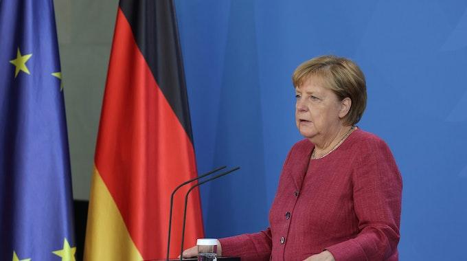 Bundeskanzlerin Angela Merkel informiert die Medien am Dienstag (24. August) bei einer Pressekonferenz nach einem virtuellen G7-Gipfel zu Afghanistan im Kanzleramt.