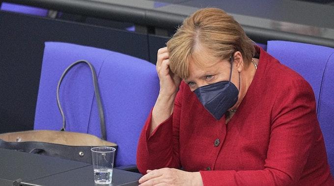 Bundeskanzlerin Angela Merkel am 25. August 2021 bei der Sondersitzung des Bundestags nach ihrer Regierungserklärung zur Lage in Afghanistan.