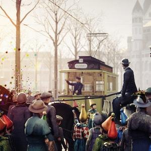 Menschen feiern Karneval in einem VR-Film und werfen Konfetti.