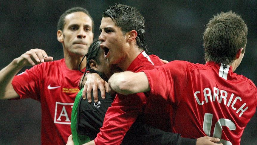 Cristiano Ronaldo jubelt im Finale der Champions League mit Manchester United.