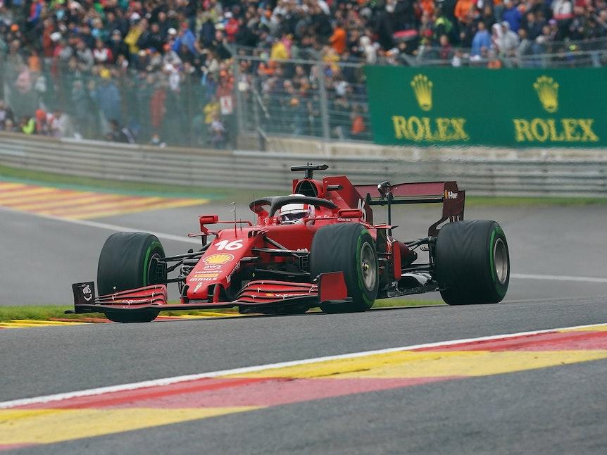 Charles Leclerc schied mit seinem Ferrari in Belgien in Q2 aus.