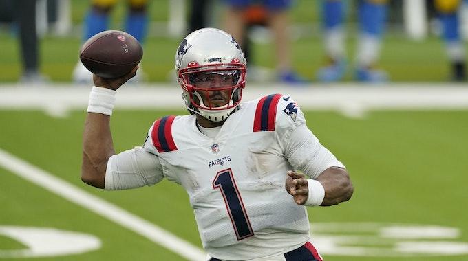 Quarterback Cam Newton von den New England Patriots in Aktion.