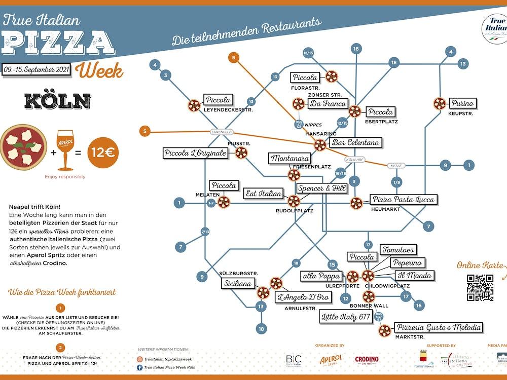 KVB-Fahrplan mit den einzelnen Lokalen, die in Köln beim Pizza-Festival mitmachen.