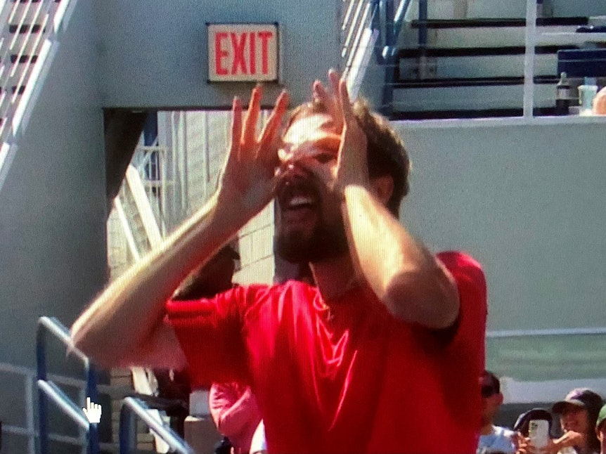 Oscar Otte bejubelt den Einzug ins Achtelfinale bei den US Open.