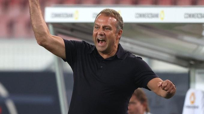 Bundestrainer Hansi Flick jubelt nach einem Tor seiner Mannschaft.