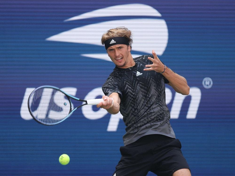 Alexander Zverev während seines Matches bei den US Open gegen Jannik Sinner