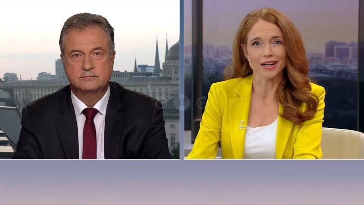GDL-Chef Claus Weselsky im Gespräch mit Moderatorin Mirjam Meinhardt im ZDF-Morgenmagazin am Montag, 6. September.