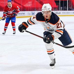 Dominik Kahun von Edmonton Oilers während des Spiels gegen die Montreal Canadiens.