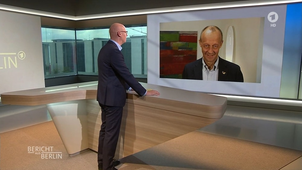 Friedrich Merz (CDU, r.), im Interview mit ARD-Moderator Matthias Deiß: Bei der Frage nach den Mitgliedern kam der Politiker schnell ins Straucheln.
