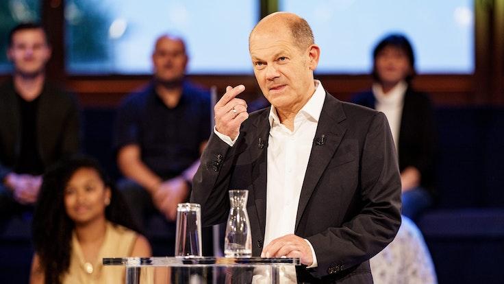 SPD-Kanzlerkandidat Olaf Scholz am Dienstagabend (7. September) in der ARD-Wahlarena.