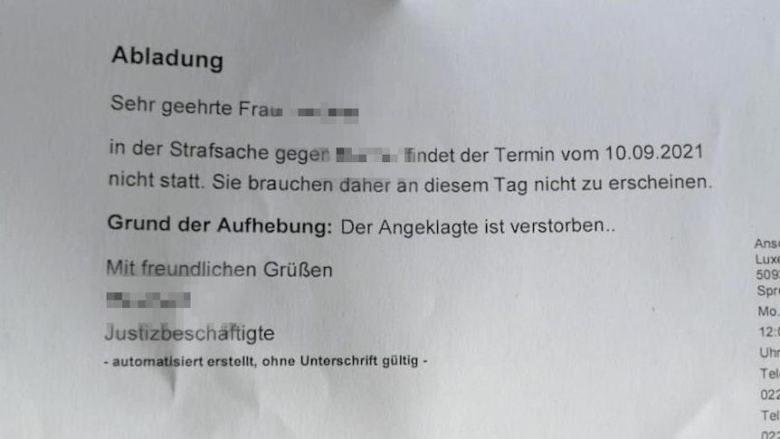 Ein Brief des Amtsgericht Köln mit dem Hinweis, dass ein Prozess nicht stattfinden wird.