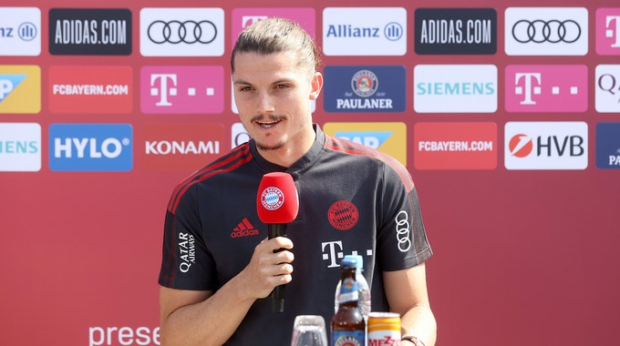 Marcel Sabitzer wird beim FC Bayern vorgestellt.