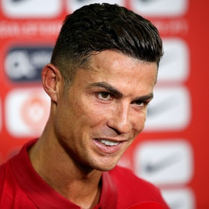 Cristiano Ronaldo beim Interview nach dem Länderspiel gegen Irland.