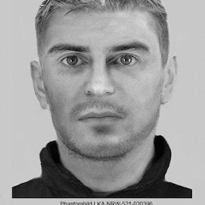 Mit diesem Phantombild fahndet die Polizei Oberhausen nach einem Räuber. Das Foto wurde via ots honorarfrei für die Öffentlichkeitsfahndung zur Verfügung gestellt