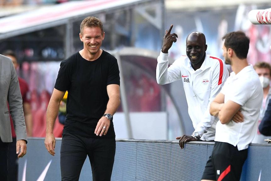 Alte Weggefährten: Ex-RB-Coach Nagelsmann (l.) und Leipzigs Teammanager N'Diaye