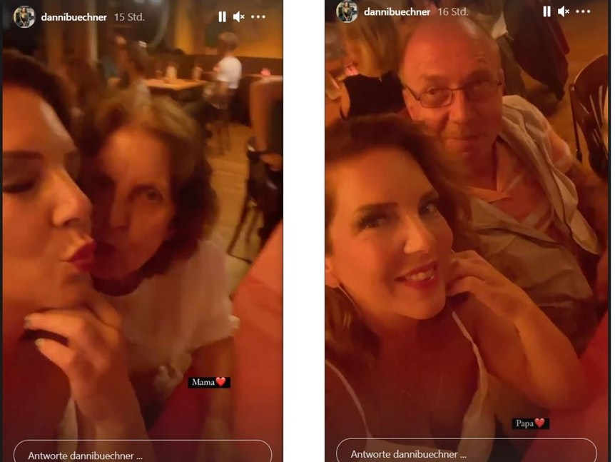 Danni Büchner zeigt ihre Eltern in Instagram-Sotrys vom 10. September 2021 +++ Screenshost zur Bericterstattung erstellt.