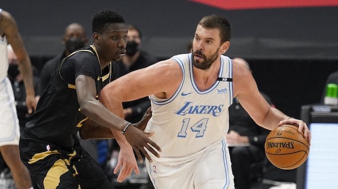 Center Marc Gasol (14) muss dei L.A. Lakers verlassen und soll wohl nach Spanien zurückkehren.