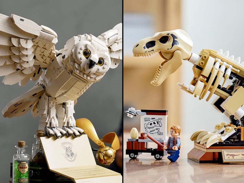 Lego Neuheiten September 2021, Lego-Harry-Potter Hogwarts Icons Collector's Edition und T.-Rex-Skelett aus Jurassic World.