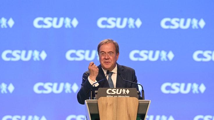 Armin Laschet am 11. September 2021 auf dem CSU-Parteitag in Nürnberg.