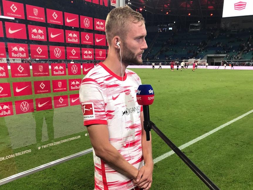 Torschütze gegen die Bayern: Konrad Laimer beim Interview
