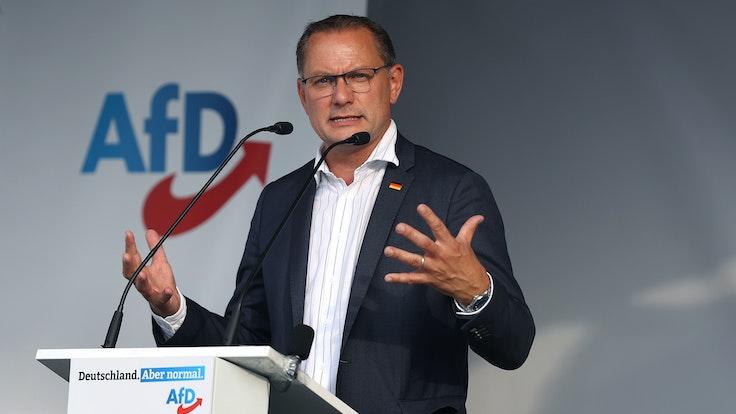 AfD-Spitzenkandidat Tino Chrupalla auf Wahlkampftour am 13.08.2021 in Stendal.
