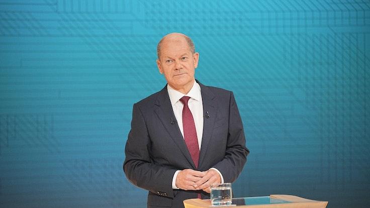Kanzlerkandidat Olaf Scholz (SPD) beim zweiten TV-Triell gegen Armin Laschet (CDU) und Annalena Baerbock (Grüne): Der ansonsten so coole Politiker zeigte diesmal Nerven und wurde auch mal laut.