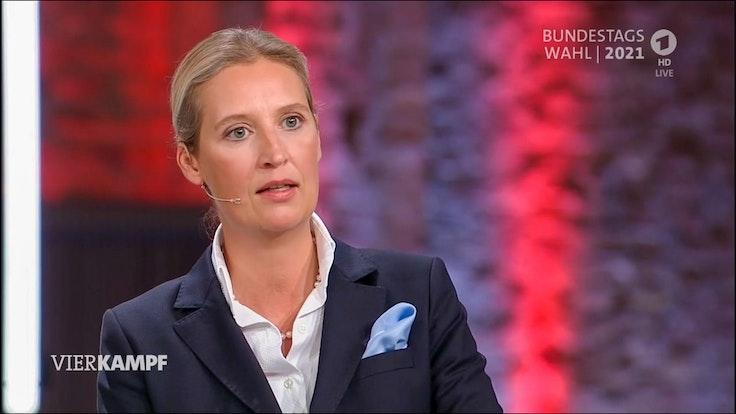 Auf die Frage nach der Klimapolitik der AfD wirkte Alice Weidel im Vierkampf in der ARD am Montag (13. September) hilflos.