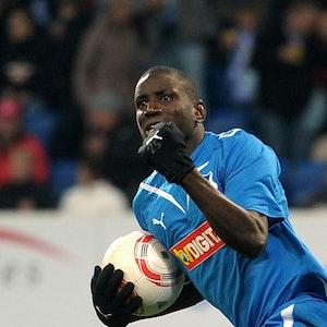 Demba Ba jubelt nach seinem Tor zum 1:1 im Spiel 1899 Hoffenheim gegen Borussia Mönchengladbach.