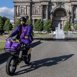 Fahrer des Lieferdienstes Getir in Berlin. Foto von der dpa, honorarfrei