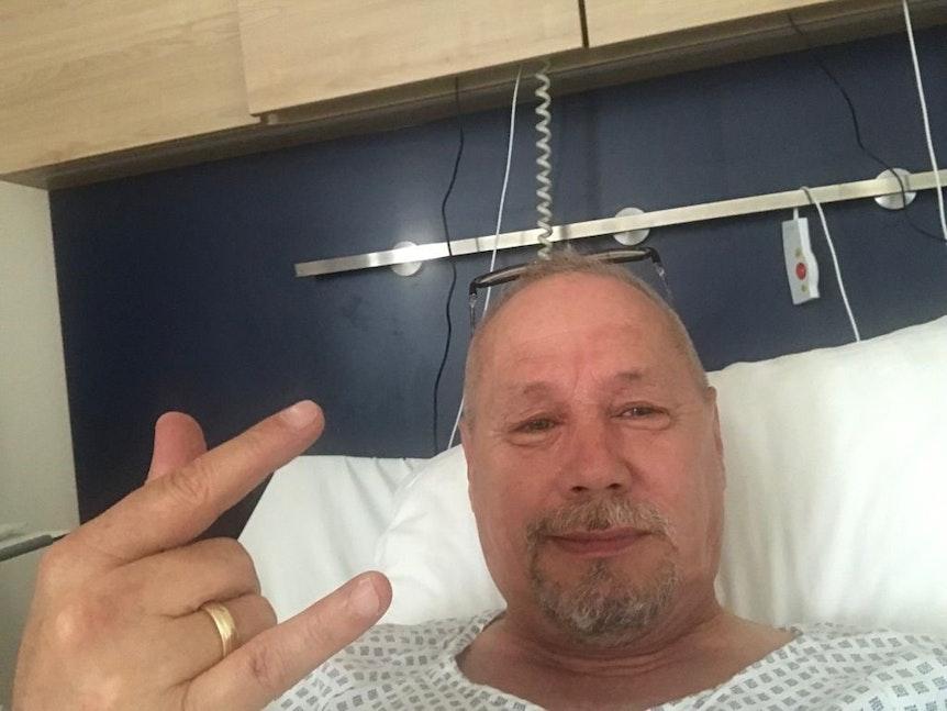 Peter Kellershoff nach seiner OP im Klinikum Merheim