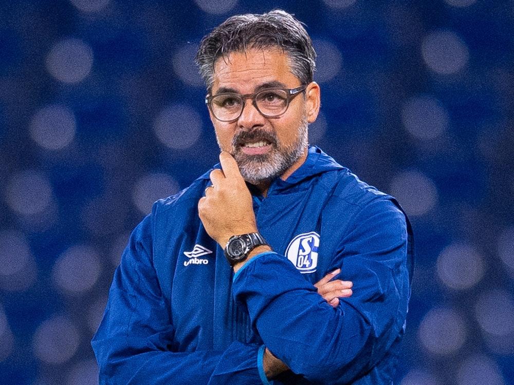 Schalkes damaliger Trainer David Wagner steht beim Spiel gegen Bremen an der Seitenlinie.