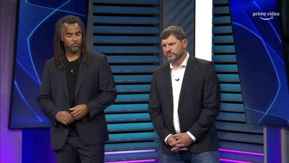 Steffen Baumgart neben Patrick Owomoyela im Amazon Prime Studio als TV-Experte.