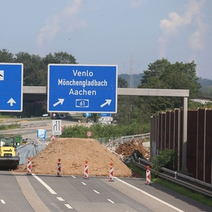 Autobahn A1, Arbeiten nach der Flut im August 2021.