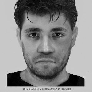 Nach einem Sexualdelikt in Düsseldorf-Benrath am 1. April 2021 fahndet die Polizei seit dem 16. September 2021 mit einem Phantombild nach dem unbekannten Täter.