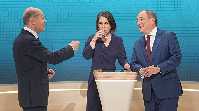 Armin Laschet, Olaf Scholz und Annalena Baerbock beim Triell am 12. September.